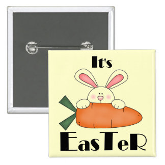 Bunny With Carrot Easter Tshirts and Gifts Button