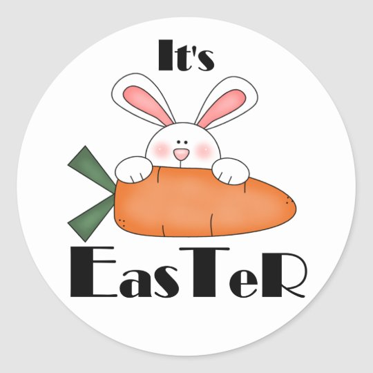 Bunny With Carrot Easter Tshirts and Gifts Classic Round Sticker