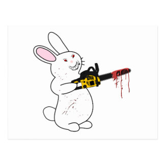 Bunny With Chainsaw Postcard