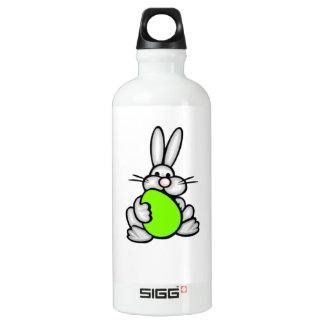 Bunny with Chartreuse, Neon Green Egg Water Bottle