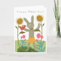Bunny with chicken greeting card  mother's day