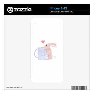 Bunny With Coffee iPhone 4S Decal