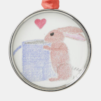 Bunny With Coffee Metal Ornament