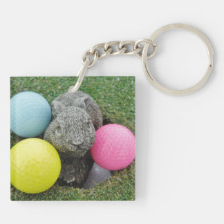 Bunny with colored golf balls key chain