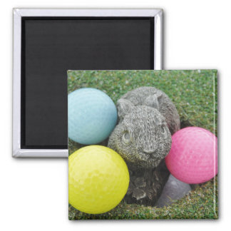 Bunny with colored golf balls fridge magnets