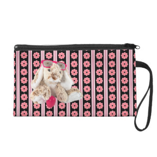 Bunny with Cool Shades Monogram Wristlet