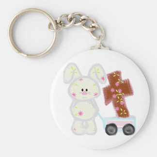 Bunny with cross keychain