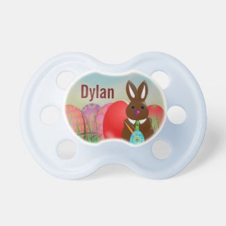 Bunny with Easter Eggs Holiday Baby Pacifier