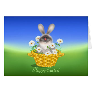 Bunny with Flowers Greeting Card