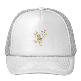 Bunny with flowers cartoon trucker hats