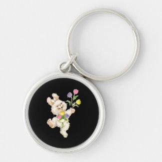 Bunny with flowers cartoon keychain