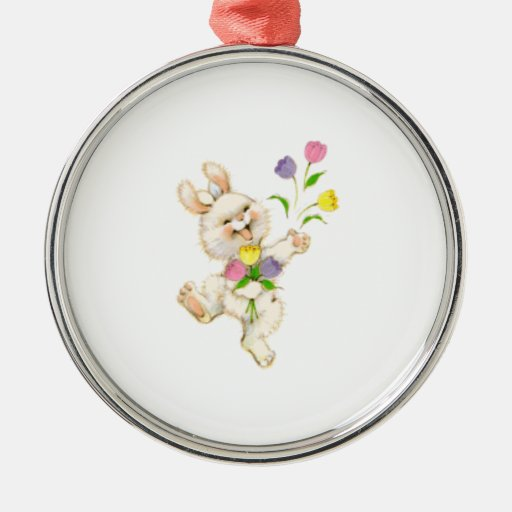 Bunny with flowers cartoon round metal christmas ornament