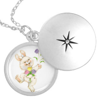 Bunny with flowers cartoon round locket necklace