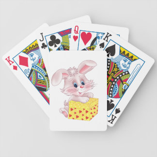 bunny with gift bicycle playing cards
