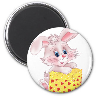 bunny with gift refrigerator magnet