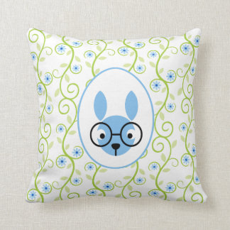 Bunny With Glasses Spring Floral Throw Pillow