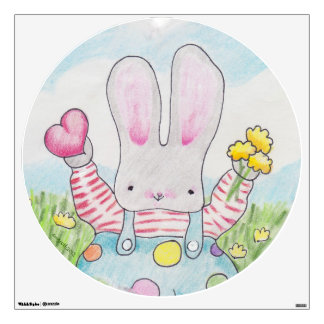 Bunny with heart and flowers wall sticker