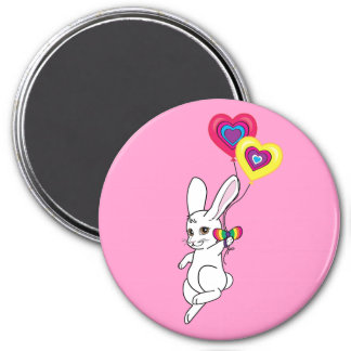 Bunny with Heart Balloons 3 Inch Round Magnet