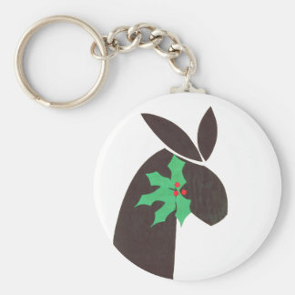 bunny with holly keychain