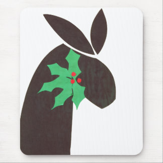 bunny with holly mouse pad