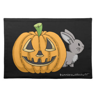 Bunny with Jack O Lantern Cloth Placemat