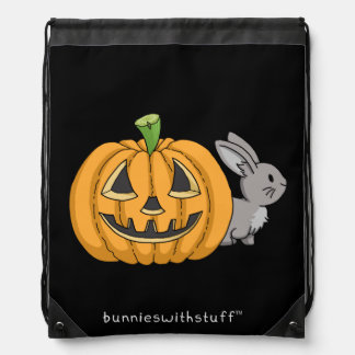 Bunny with Jack O Lantern Drawstring Bag