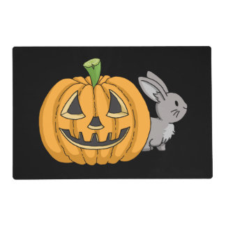 Bunny with Jack O Lantern Placemat