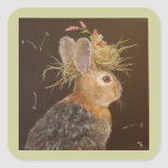 Bunny with nesting cardinal stickers