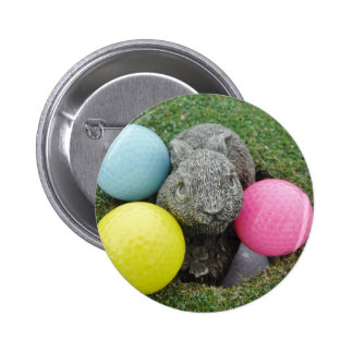 Bunny with pink blue yellow egg pinback buttons