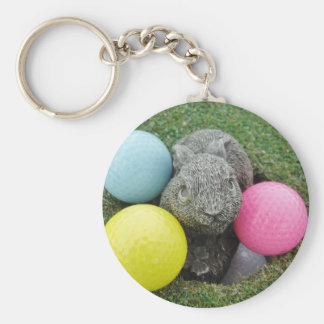Bunny with pink blue yellow egg keychain