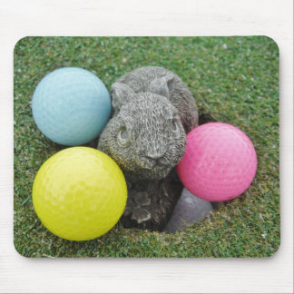Bunny with pink blue yellow egg mouse pad