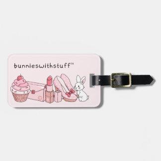 Bunny with pink stuff bag tag
