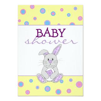 Bunny with Purple Plaid Baby Shower Invitation