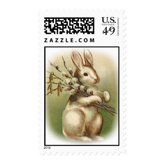 Bunny With Pussy Willow Postage