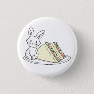 Bunny with Sandwiches Pinback Button