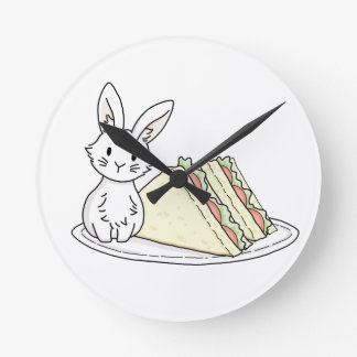 Bunny with Sandwiches Round Clock