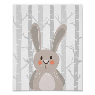 Bunny Woodland Animal Nursery Wall Art Print