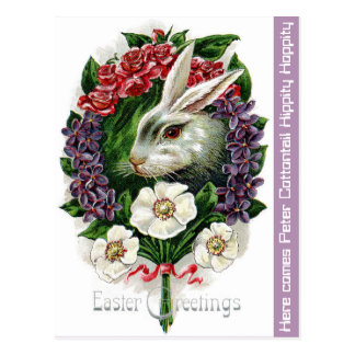 """BUNNY WREATH"" SPRING GREENERY EASTER POSTCARD"