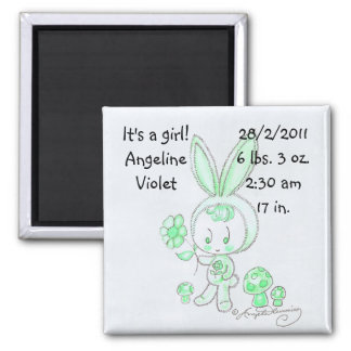 BunnyCreatureCustomisableMagnet 2 Inch Square Magnet