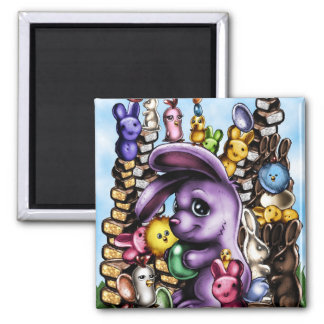 BunnyEaster1b 2 Inch Square Magnet
