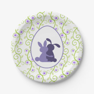 Bunny's Embrace Spring Floral Paper Plate