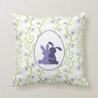 Bunny's Embrace Spring Floral Throw Pillow