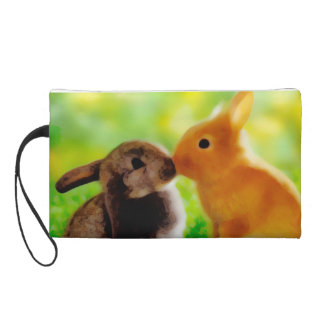 Bunnys in love wristlet purse