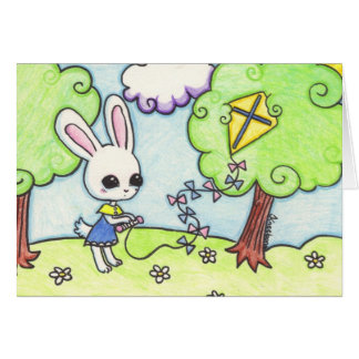 Bunny's kite is stuck in a tree stationery note card