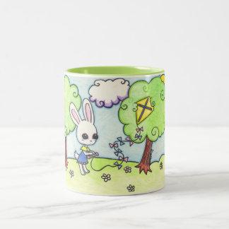 Bunny's kite is stuck in a tree Two-Tone coffee mug