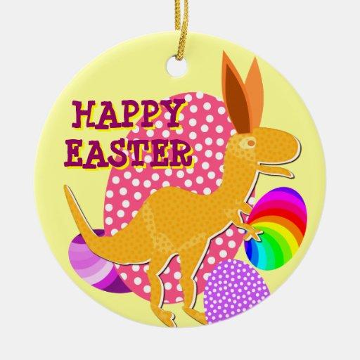 Bunnysaurus Rex dice el ornamento feliz de Pascua  Adorno Para Reyes