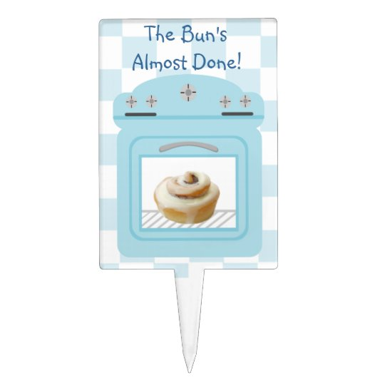 Buns Almost Done Bun In The Oven Blue Baby Shower Cake Topper