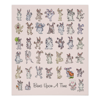 Buns Upon A Time Kids Room Rabbit Poster Print