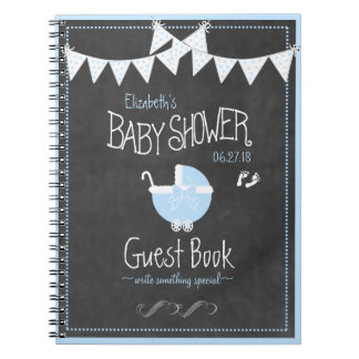 Bunting and Carriage Blue Baby Shower Guest Book Spiral Notebook