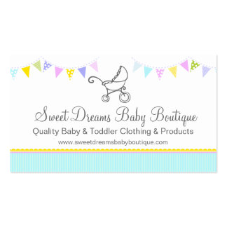 Bunting baby boutique mint aqua swing hang tag Double-Sided standard business cards (Pack of 100)